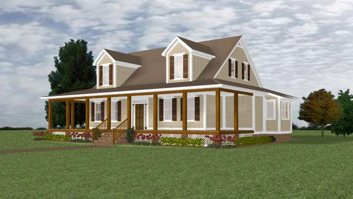 Farmhouse design elevation plan, Dogwood Construction Aiken, SC